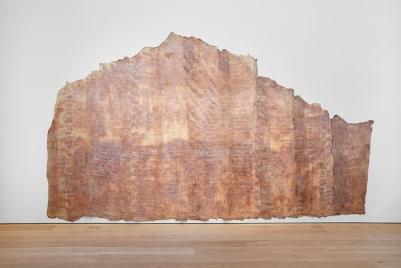 Heidi Bucher, <em>Elfenbornhaut, Fridericianum, Kassel</em>, 1982, latex, textile, and mother of pearl pigment159.45 x 275.59 inches (irregular). Photo: Matthew Herrmann. © The Estate of Heidi Bucher. Courtesy the artist and Lehmann Maupin, New York, Hong Kong, and Seoul.