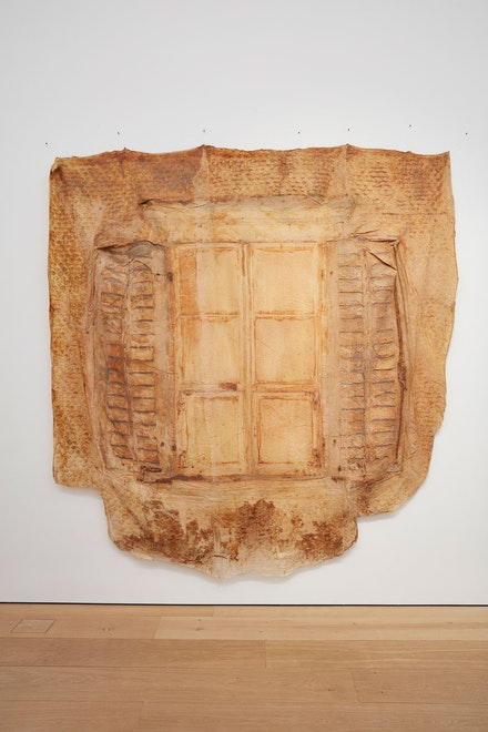 Heidi Bucher, <em>Fenster mit Läden und Schindeln, Bellevue,</em> 1988, latex and gauze110.24 x 110.24 inches (approximately). Photo: Matthew Herrmann. © The Estate of Heidi Bucher. Courtesy the artist and Lehmann Maupin, New York, Hong Kong, and Seoul.