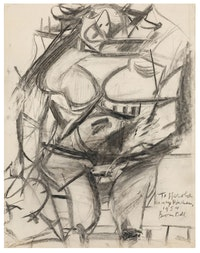 Willem de Kooning, <em>Monumental Woman</em>, 1954, charcoal on paper. Courtesy Mnuchin Gallery.