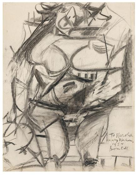 Willem de Kooning, <em>Monumental Woman</em>, 1954, charcoal on paper. Courtesy Mnuchin Gallery.