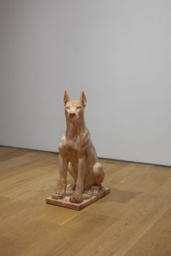<p>Julia Scher, <em>Girl Dog (Hybrid)</em>, 2005, Marble, 30 1/4 x 17 3/4 x 10 1/4 inches. Courtesy Ortuzar Projects.</p>