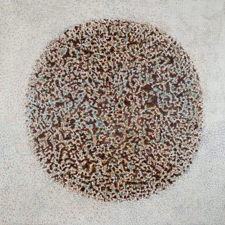 Richard Pousette-Dart, <em>Imploding Cosmos</em>, 1992, acrylic on linen, 72 x 72 inches. © 2019 Estate of Richard Pousette-Dart / Artist Rights Society (ARS), New York.