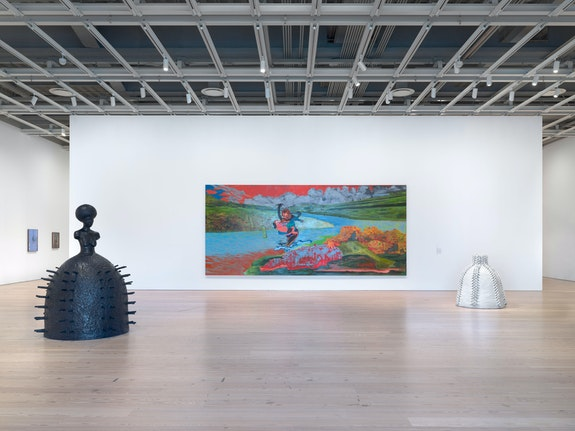 Installation view: <em>Whitney Biennial 2019</em>, Whitney Museum of American Art, New York, 2019. From left to right: Dicko Chan, <em>Untitled</em>, 2018; Emerson Ricard, <em>Untitled</em>, 2018; Simone Leigh, <em>Stick</em>, 2019; Janiva Ellis, <em>Uh Oh, Look Who Got Wet</em>, 2019; Simone Leigh,<em> #8 Village Series</em>, 2019. Photo: Ron Amstutz.