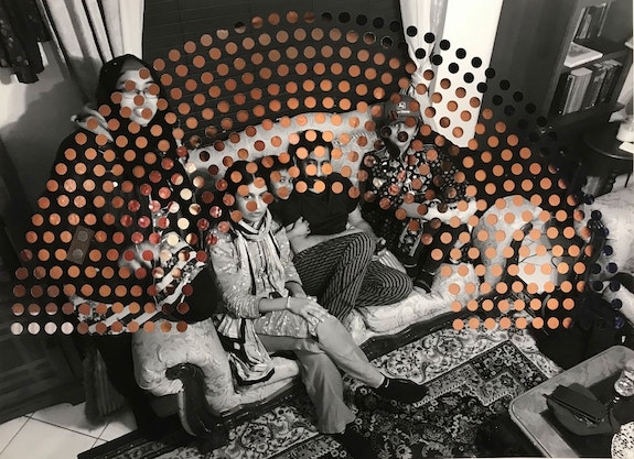 Baseera Khan, <em>My Family Seated</em>, 2019. Chromatic print on paper with cutouts, pleather, 22 x 33 inches. Courtesy of the Artist and Jenkins Johnson Projects, New York.
