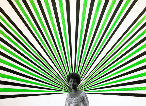 Rico Gatson, <em>Aretha</em>, 2019. Color pencil and photograph collage on paper, 22 x 30 inches. Courtesy of the Artist and Jenkins Johnson Projects, New York.