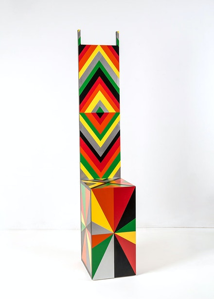 Rico Gatson, <em>Throne III</em>, 2016. Acrylic paint, spray paint, and glitter on wood, 74 x 13 1/4 x 14 3/4 inches. Courtesy of the Artist and Jenkins Johnson Projects, New York.