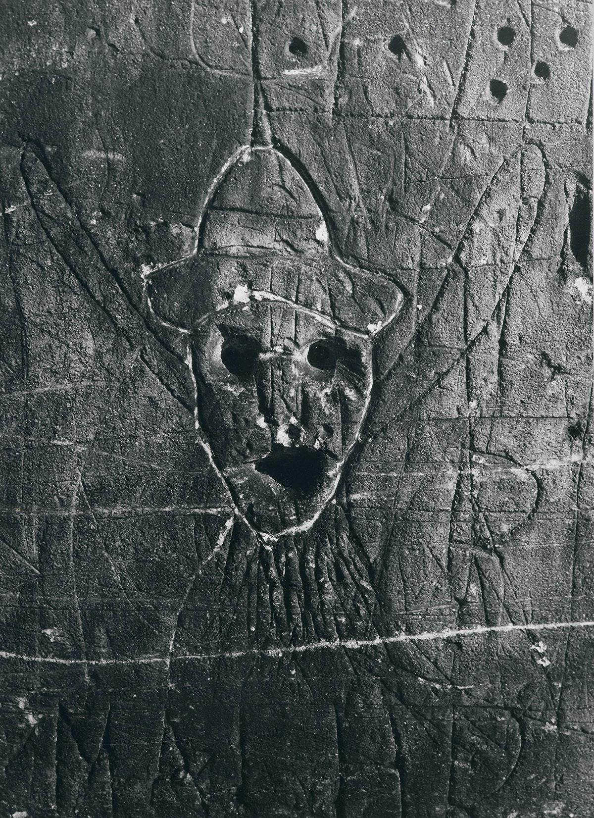 Brassaiï, <em>Graffiti de la série VIII, La magie</em>, 1950. Silver gelatin print, 15 x 11 inches. © Estate Brassaí Succession.