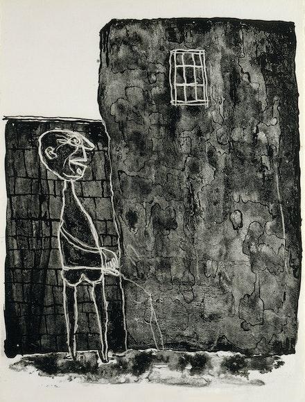 Jean Dubuffet, <em>Pisseur au mur</em>, 1945. 15 x 11 1/4 inches. © Fondation Dubuffet/ADAGP, Paris and DACS, London, 2019.