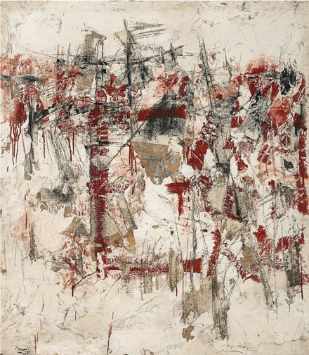 Vlassis Caniaris, <em>Hommage aux murs d'Athènes</em>, 1959. Oil and mixed media on canvas, 59 7/8 x 52 x 1 15/16 inches. © Vlassis Caniaris.