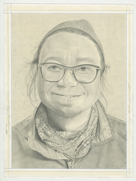 Portrait of Rirkrit Tiravanija, pencil on paper by Phong Bui.