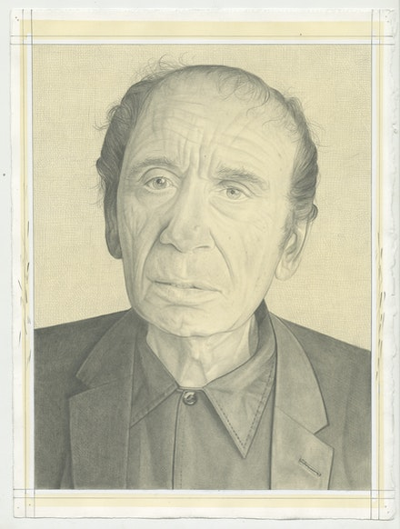Portrait of Vito Acconci, pencil on paper by Phong Bui.