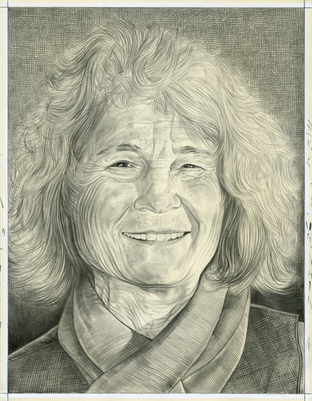 Portrait of Simone Forti. Pencil on paper by Phong Bui.