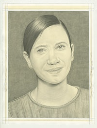 Portrait of Andrea Fraser. Pencil on paper by Phong Bui.