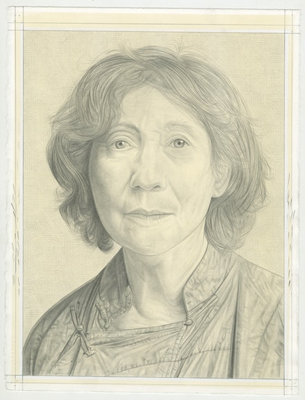 Portrait of Suzan Frecon. Pencil on paper by Phong Bui.