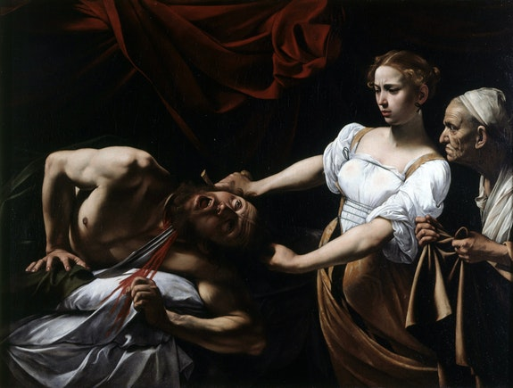 Caravaggio, <em>Judith Beheading Holofernes</em>, c. 1598-1599, oil on canvas, 57 x 77 inches. In the collection of the Galleria Nazionale d'Arte Antica at Palazzo Barberini, Rome.