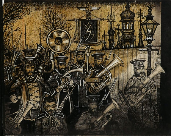 Renaldo Kuhler, <em>Gorghendi Kahn proclaims martial law (Janissary band marching),</em> 1957. Ink and gouache on sketch paper, 8 x 9 3/4 inches. Courtesy Ricco/Maresca Gallery, New York.