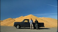 Ian Cheney and Curt Ellis at a pile of corn near Iowa. Photos provided by Mosaic Films Incorporated.