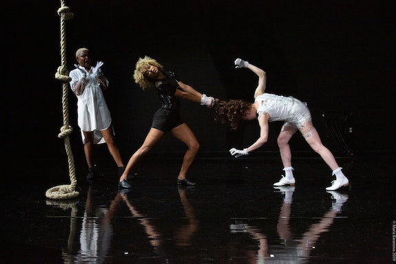 From left: Jolie Ngemi, Ligia Lewis, Dani Brown in <em>Water Will</em>. Photo: Maria Baranova.