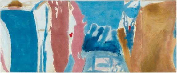 Helen Frankenthaler, <em>Open Wall,</em> 1953. Oil on unsized, unprimed canvas, 53 3/4 x 131 inches. © 2019 Helen Frankenthaler Foundation, Inc. / Artists Rights Society (ARS), New York. Photo: Rob McKeever. Courtesy Gagosian.