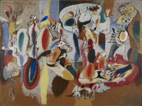 Arshile Gorky, <em>The Liver is the Cock's Comb,</em> 1944. Oil on canvas, 73 x 98 1/2 inches. Buffalo, New York, Collection Albright-Knox Art Gallery.