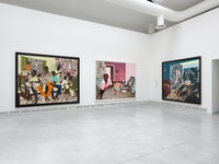 Installation view: 58th International Art Exhibition - La Biennale di Venezia, <em>May You Live In Interesting Times,</em> with work by Njideka Akunyili Crosby. Courtesy the artist, Victoria Miro, and David Zwirner.
