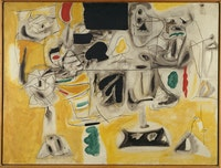 Arshile Gorky, <em>Landscape-Table,</em> 1945. Oil on canvas, 36 x 48 inches. Paris, Centre Pompidou, Musée national d'art moderne, Centre de création industrielle.