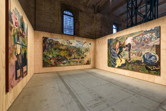 Installation view: 58th International Art Exhibition - La Biennale di Venezia, <em>May You Live In Interesting Times,</em> with work by Michael Armitage. Photo: Andrea Avezzù.