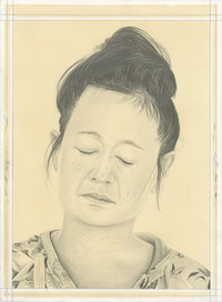 Portrait of Hito Steyerl, pencil on paper by Phong Bui. Based on a photo by Trevor Paglen.
