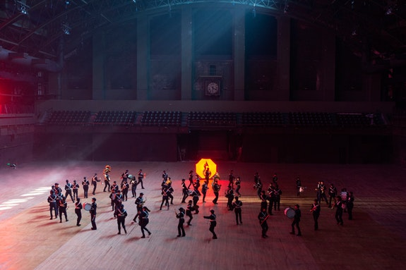 Hito Steyerl, Filming for <em>Drill</em> at Park Avenue Armory, 2019. Photo: Camille Brown.