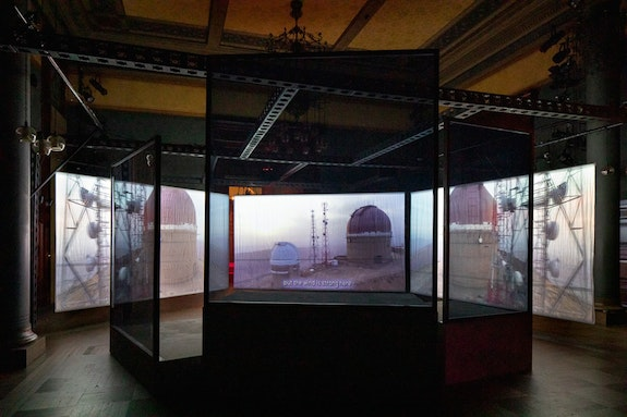 Installation view: <em>Hito Steyerl: Drill</em>, Park Avenue Armory, 2019. Photo © James Ewing.