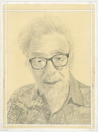 Portrait of Gerd Stern. Pencil on paper by Phong Bui.