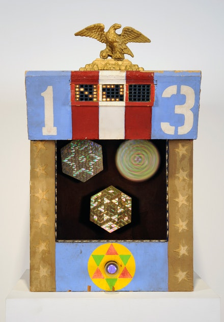 USCO, (Gerd Stern, Stephen Durkee, Michael Callahan), <em>Triple Diffraction Hex</em>, 1965, Surplus IBM parts, diffraction gratings, circuitry, plywood, board, brass eagle, 32 x 20 x 18.75 inches (81.2 x 50.8 x 47.6 cm). Courtesy of Carl Solway Gallery, Cincinnati.