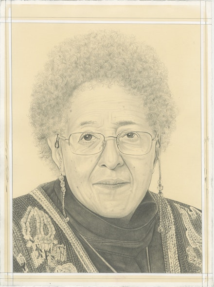Portrait of Howardena Pindell, pencil on paper by Phong Bui. Based on a photo © Nathan Keay 2018 .