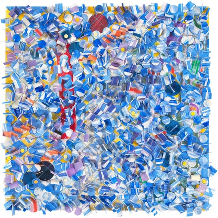 Howardena Pindell, <em>Untitled #59</em>, 2010, Mixed media collage on board, 13 x 13 x ½ in. © Howardena Pindell. Courtesy the artist, Garth Greenan Gallery, New York and Victoria Miro, London/Venice