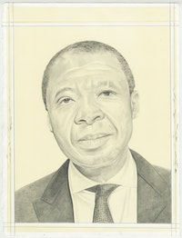 Portrait of Okwui Enwezor, pencil on paper by Phong Bui.