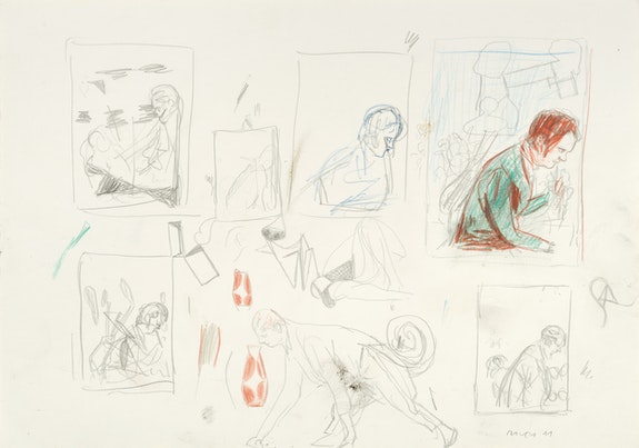 Neo Rauch, <em>Kringel</em>, 2011. Crayon, pencil on paper, 11 5/8 x 16 1/2 inches. Courtesy Neo Rauch Studio, Leipzig.