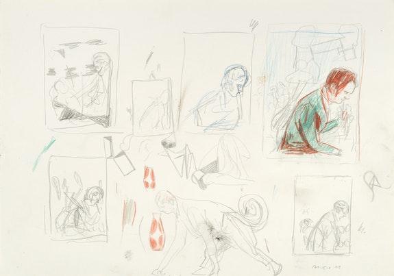 Neo Rauch, <em>Kringel</em>, 2011. Crayon, pencil on paper, 11 5/8 x 16 1/2 inches. Courtesy Neo Rauch Studio, Leipzig.