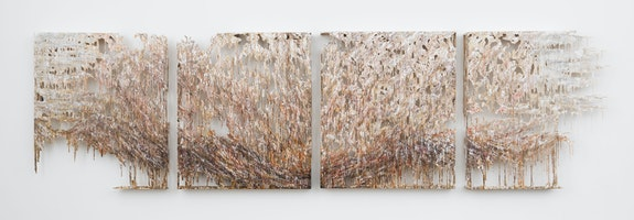 Diana Al-Hadid, <em>Vesuviusev</em>, 2018. Steel, fiberglass, polymer gypsum, plaster, gold leaf, copper leaf, pigment, 4 parts, each 63 x 54 inches. Courtesy the artist and Marianne Boesky Gallery, New York and Aspen. © Diana Al-Hadid. Photo credit: Object Studies.