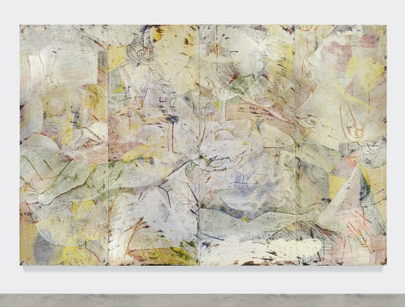 Angel Otero, <em>A False Spring</em>, 2016. Oil paint and fabric collaged on canvas, 96 x 145.5 inches. Courtesy the artist and Lehmann Maupin, New York, Hong Kong, and Seoul.