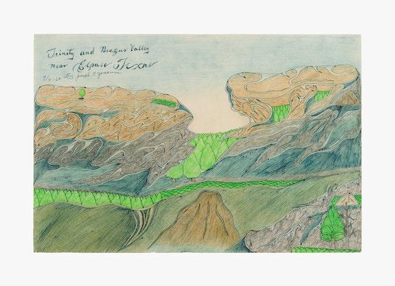 Joseph Elmer Yoakum, <em>Trinity and Brazus Valley near Elpaso Texas</em>, 1964. Blue ballpoint pens, graphite, and watercolor on tan wove paper, 12 x 17 1/2 inches. Courtesy Venus Over Manhattan, New York. Photo: Claire Iltis.