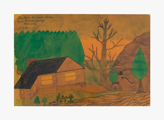 Joseph Elmer Yoakum, <em>The Home of Jesse James Near Bonner</em>, 1964. Colored pencil on paper, 12 x 17 7/8 inches. Courtesy Venus Over Manhattan, New York. Photo: Claire Iltis.