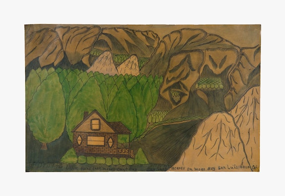 Joseph Elmer Yoakum, <em>The Little Home that Money Can't Buy, Bay Shore Acroes on Moro Bay San Luis Obispo Cal</em>, n.d. Ballpoint pen and colored pencil on paper, 12 x 19 inches. Collection of KAWS. Courtesy Venus Over Manhattan, New York. Photo: Claire Iltis.