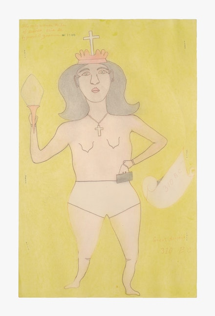 Joseph Elmer Yoakum,<em> The only woman ruler of Assirea Asia Se.</em>, 1970. Graphite and colored pencil on paper, 19 x 12 inches. Courtesy Venus Over Manhattan.
