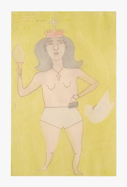 Joseph Elmer Yoakum,<em> The only woman ruler of Assirea Asia Se.</em>, 1970. Graphite and colored pencil on paper, 19 x 12 inches. Courtesy Venus Over Manhattan.