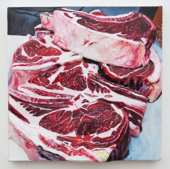 Gina Beavers,<em> Local Pasteurized Beef</em>, 2014. Acrylic on canvas. Courtesy the artist.