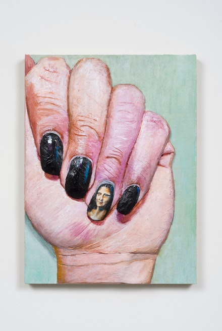 Gina Beavers,<em> Mona Lisa Nail</em>, 2015. Acrylic on linen panel. Courtesy the artist.