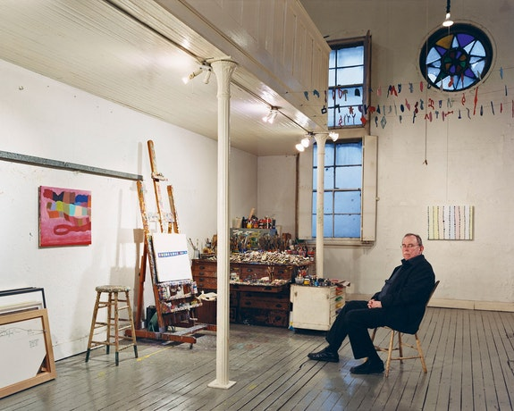 Thomas Nozkowski in his studio, New York, March 6, 2008. Photo: Jason Schmidt.