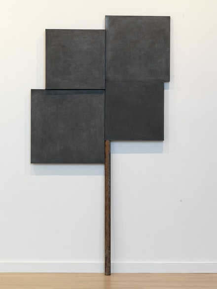 Denzil Hurley, <i>Glyph Within, Without and About #2,</i> 2016 - 2018. Oil on canvas and panel and stick, 97 x 48.5 inches. Courtesy the Milton Resnick and Pat Passlof Foundation.