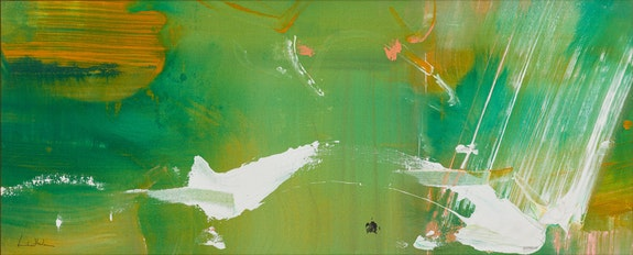 Helen Frankenthaler, <i>White Flight,</i> 1979, acrylic on canvas, 16 x 39 1/2 inches, 40.6 x 100.3 cm. Artwork © 2019 Helen Frankenthaler Foundation/Licensed by VAGA, New York, NY. Private Collection. Courtesy of Kasmin Gallery.