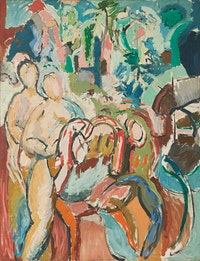 Nell Blaine, <i>Merry-Go Round,</i> 1955, oil on canvas, 70 x 54 inches, 177.8 x 137.2 cm. Courtesy Reynolds Gallery and Kasmin Gallery.